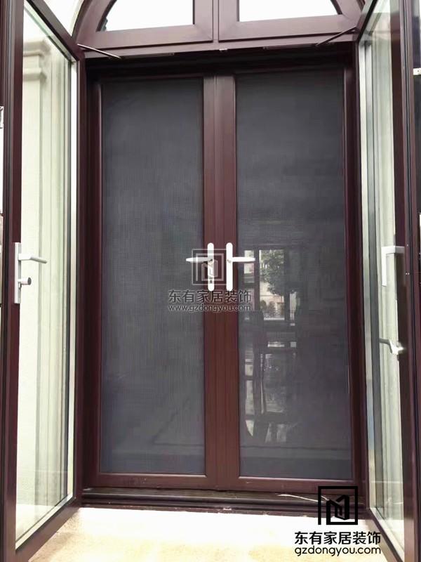 铝合金仿木平开门、纱门一体式