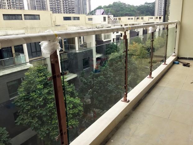 御金晓岛别墅阳台红古铜色玻璃栏杆 LG-032