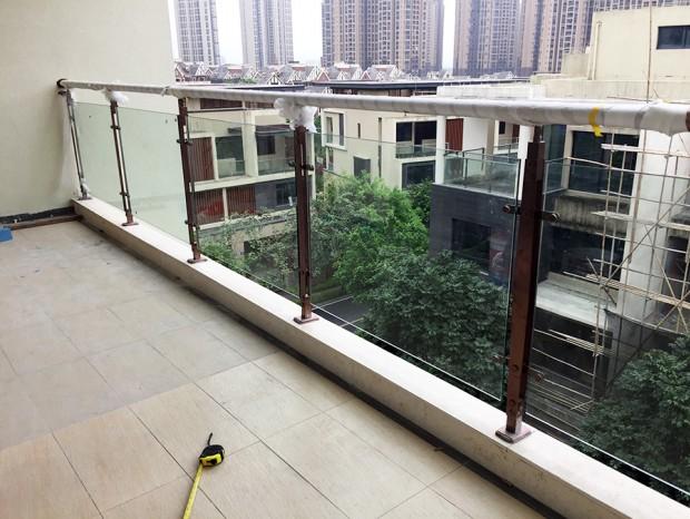 御金晓岛别墅阳台玻璃红古铜色栏杆 LG-032