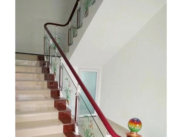 不锈钢楼梯仿木扶手(挂玻璃) FS-045