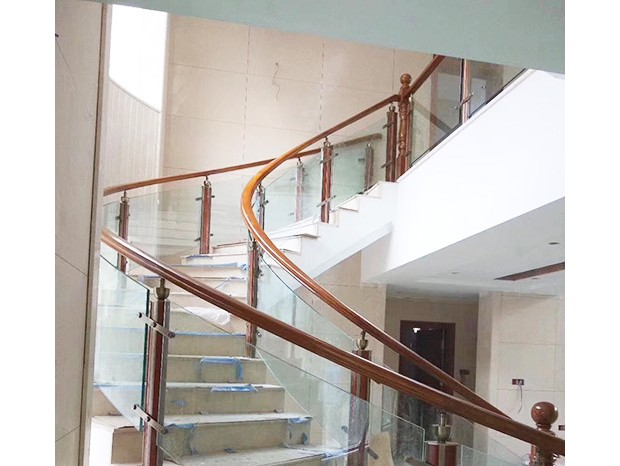 不锈钢玻璃木扶手楼梯 FS-066