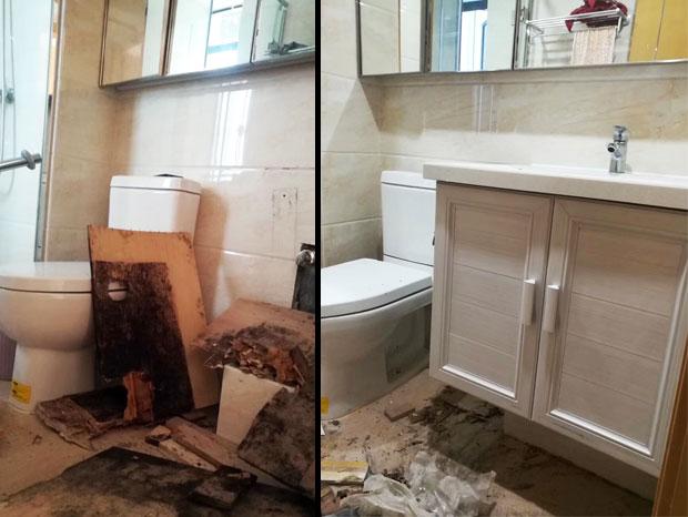美式风格阳台洗衣机柜、洗手盆柜更换 YTG-002