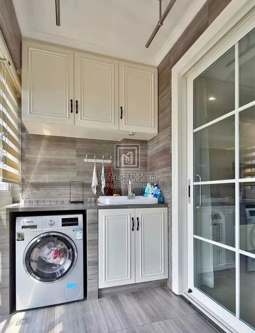 70平米小户型简约风格阳台洗衣柜原来可以这样布置FDW-008