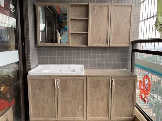 简约北欧风格87平两居阳台柜子,卫生间洗手台组合柜子实拍案例FDW-010