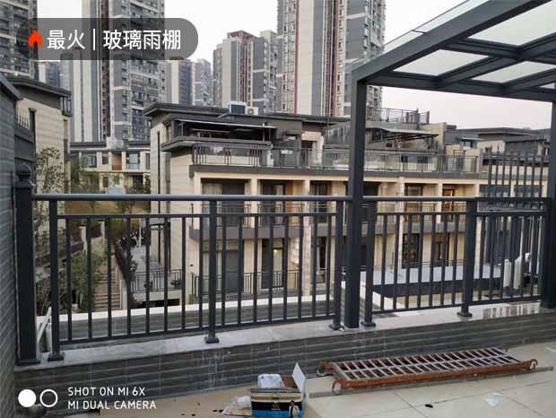 广州星汇金沙别墅铝合金玻璃雨棚