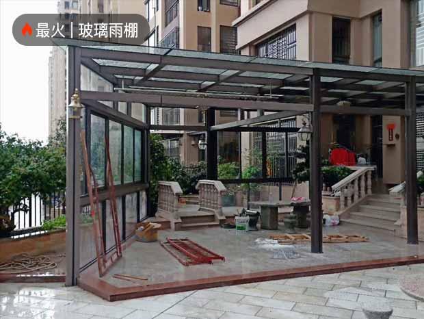 铝合金玻璃雨棚、阳光板车棚